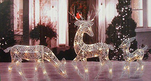 White Glittered Doe, Fawn And Reindeer Lighted Christmas Yard Art Decoration  Set: Features An Impressive, Dazzling Design, Accented With Silver Glitter  And ...