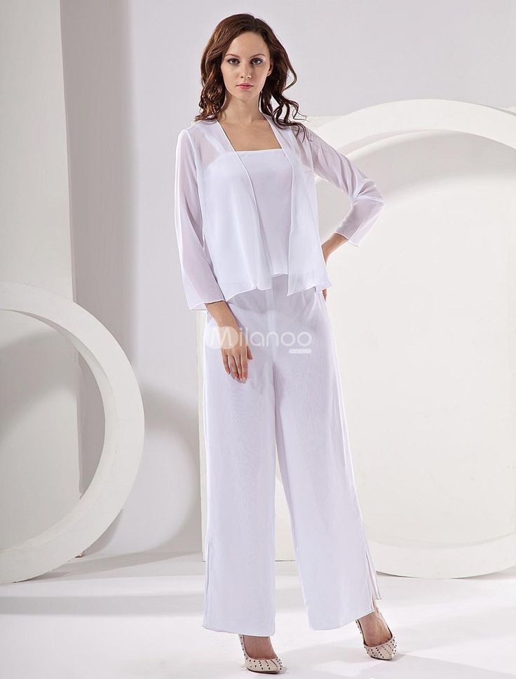 Elegant Champagne Chiffon Mother Of The Bride Pant Suits. This ...