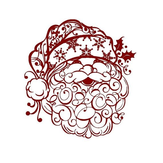 Christmas Decal Beautiful Santa Clause Vinyl Wall Art Stickerl- Also for Plates or Tiles on Etsy, $16.00