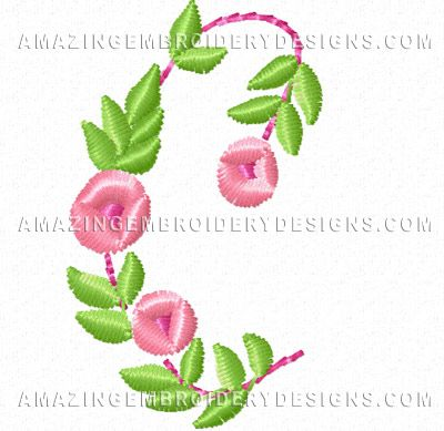 Free Embroidery Design Pretty Small Flowers Font Letter C Free