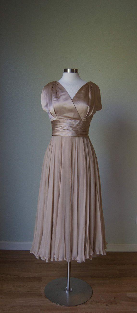 1950s Adele Simpson Layered Silk Chiffon and by KittyGirlVintage