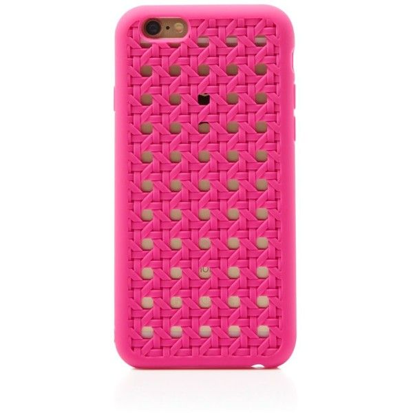 kate spade new york iPhone 6 Case - Silicone Woven Cane (82 BRL) ❤ liked on Polyvore featuring accessories, tech accessories, phone cases, phone, vivid snapdragon pink and kate spade