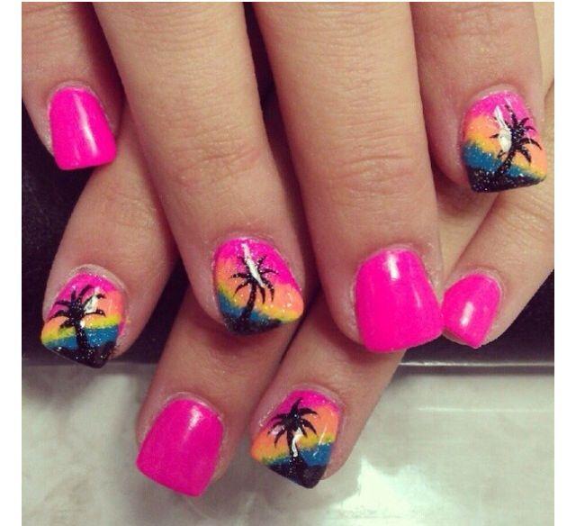 Florida Vacation Nails Beach Themed Nails Beach Nail Designs
