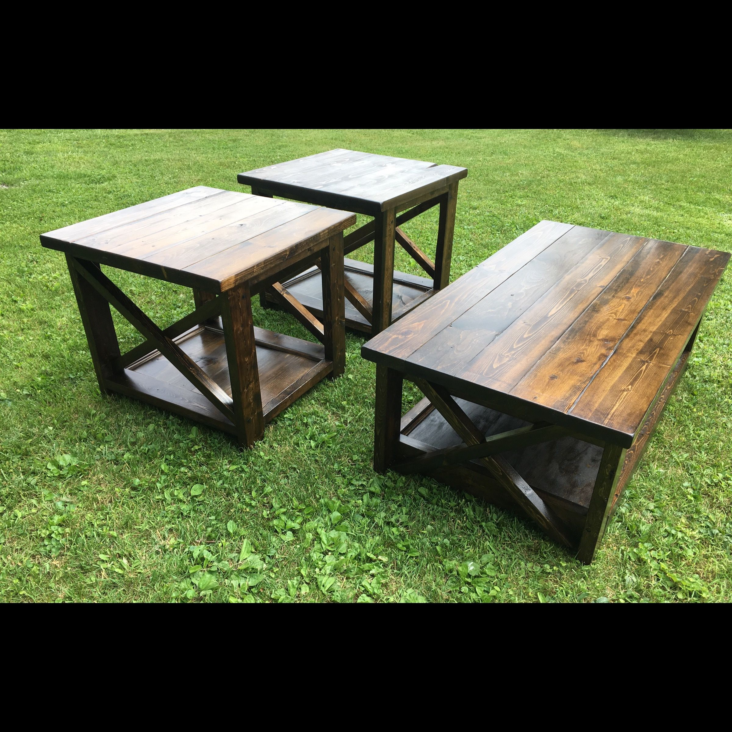Rustic X Coffee Table With Matching End Tables Rustic End Tables