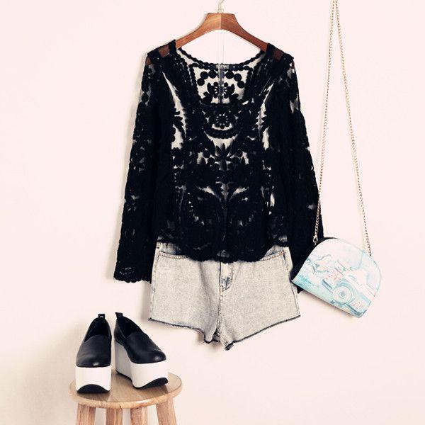 Black Long Sleeve Hollow Crochet Lace Blouse #ladies