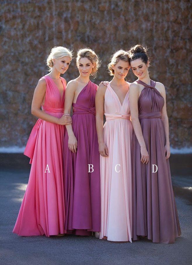 $89- Multi-colors Satin A-line Floor Length Bridesmaid Dresses ...