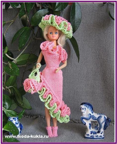 Платье с рюшью на Барби | вязаная одежда для Барби с ...