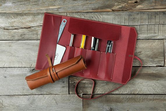 5505 Rolling Pen Pouch Oil Pull-up Leather by HEVITZ on Etsy