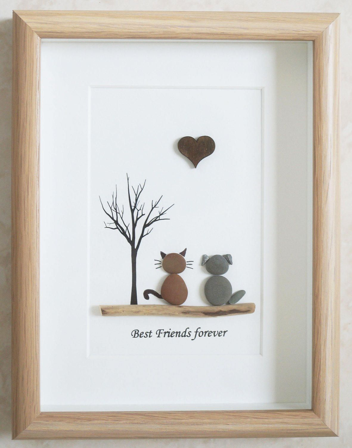 Pebble Art framed Picture - Dog and Cat - Best Friends forever ...