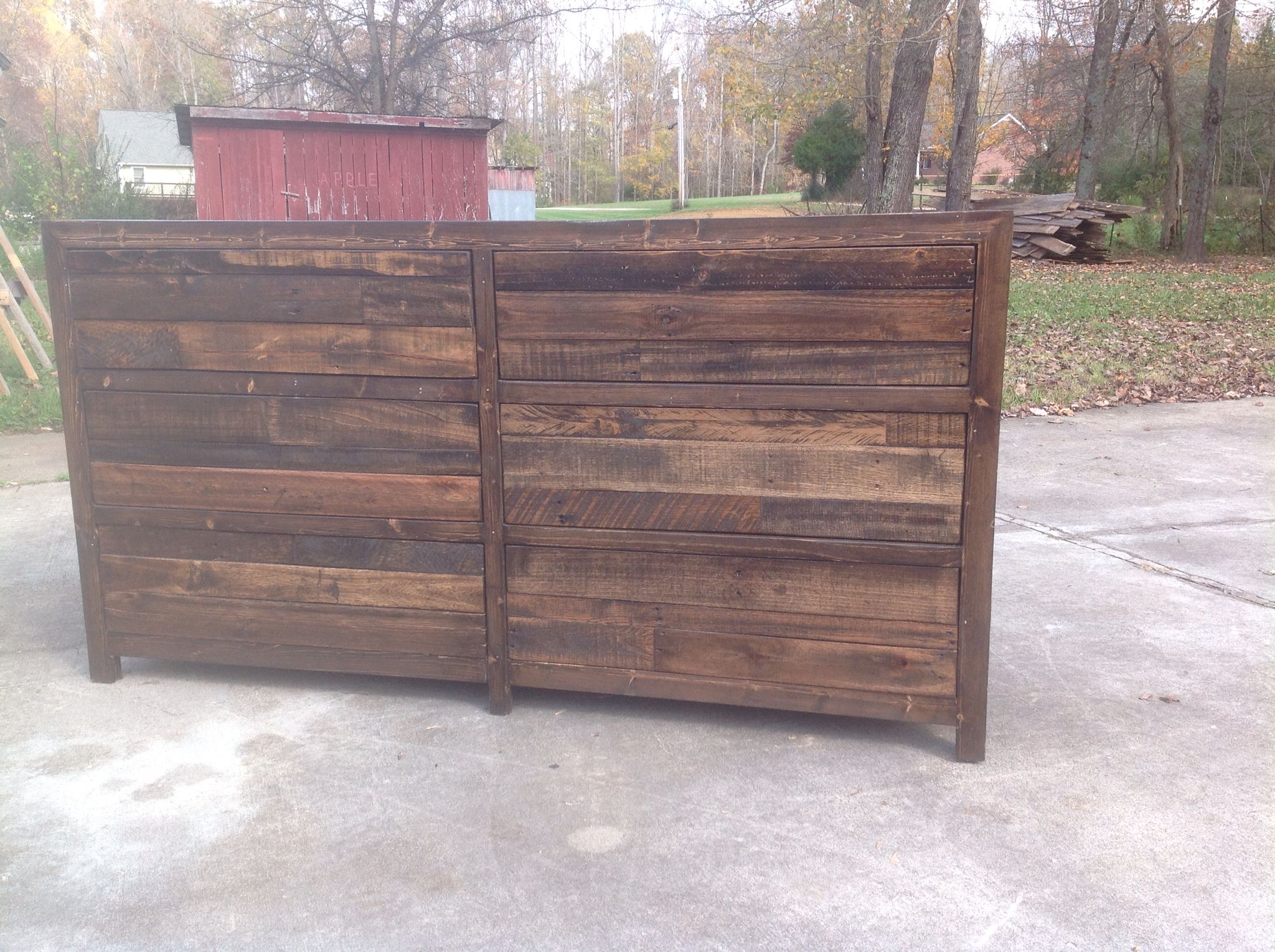 Handmade six drawer dresser faced with reclaimed pallet wood or