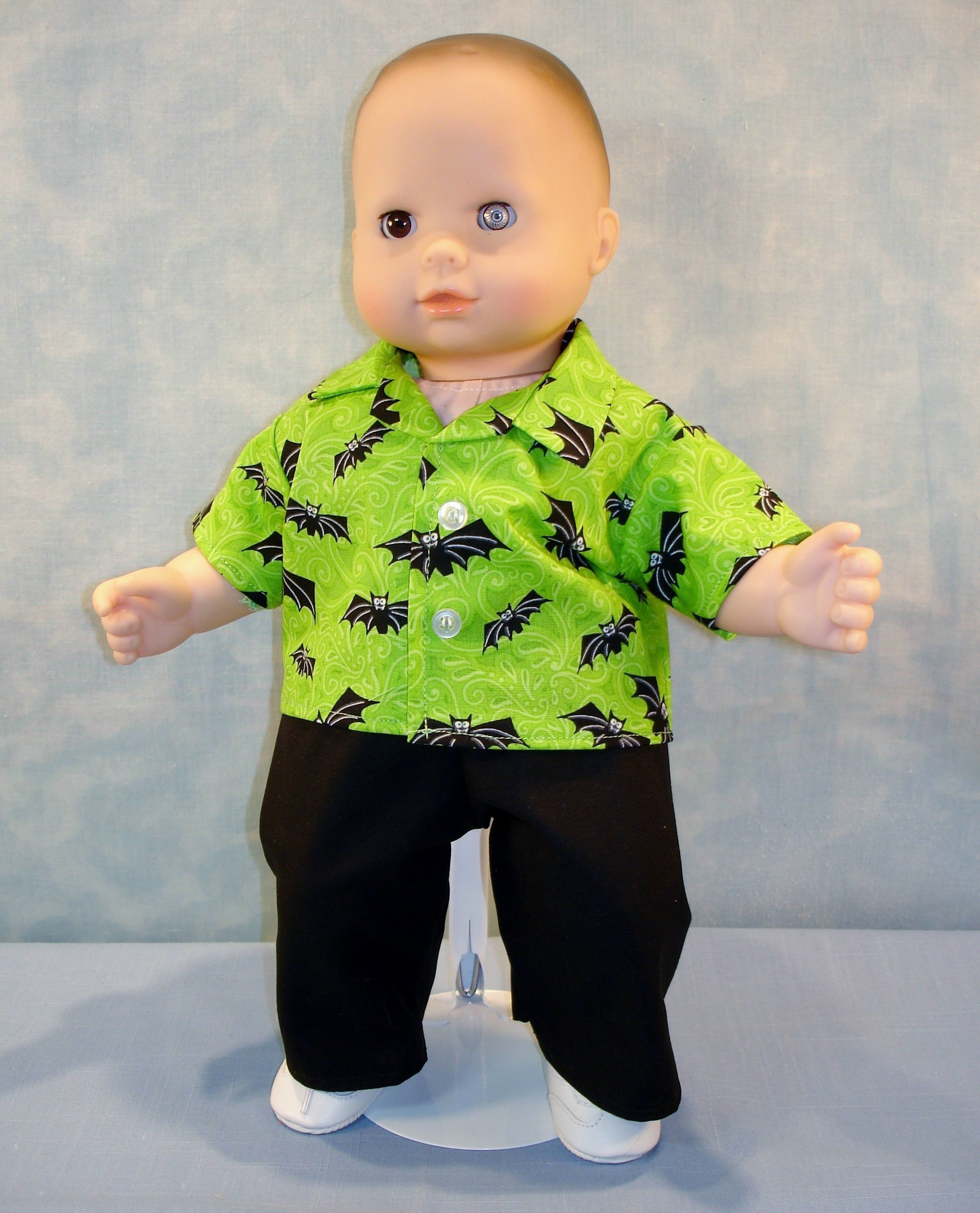 15 Inch Doll Clothes Bats On Green Shirt And Black Pants Etsy Halloween Shirts For Boys Doll Clothes Halloween Outfits