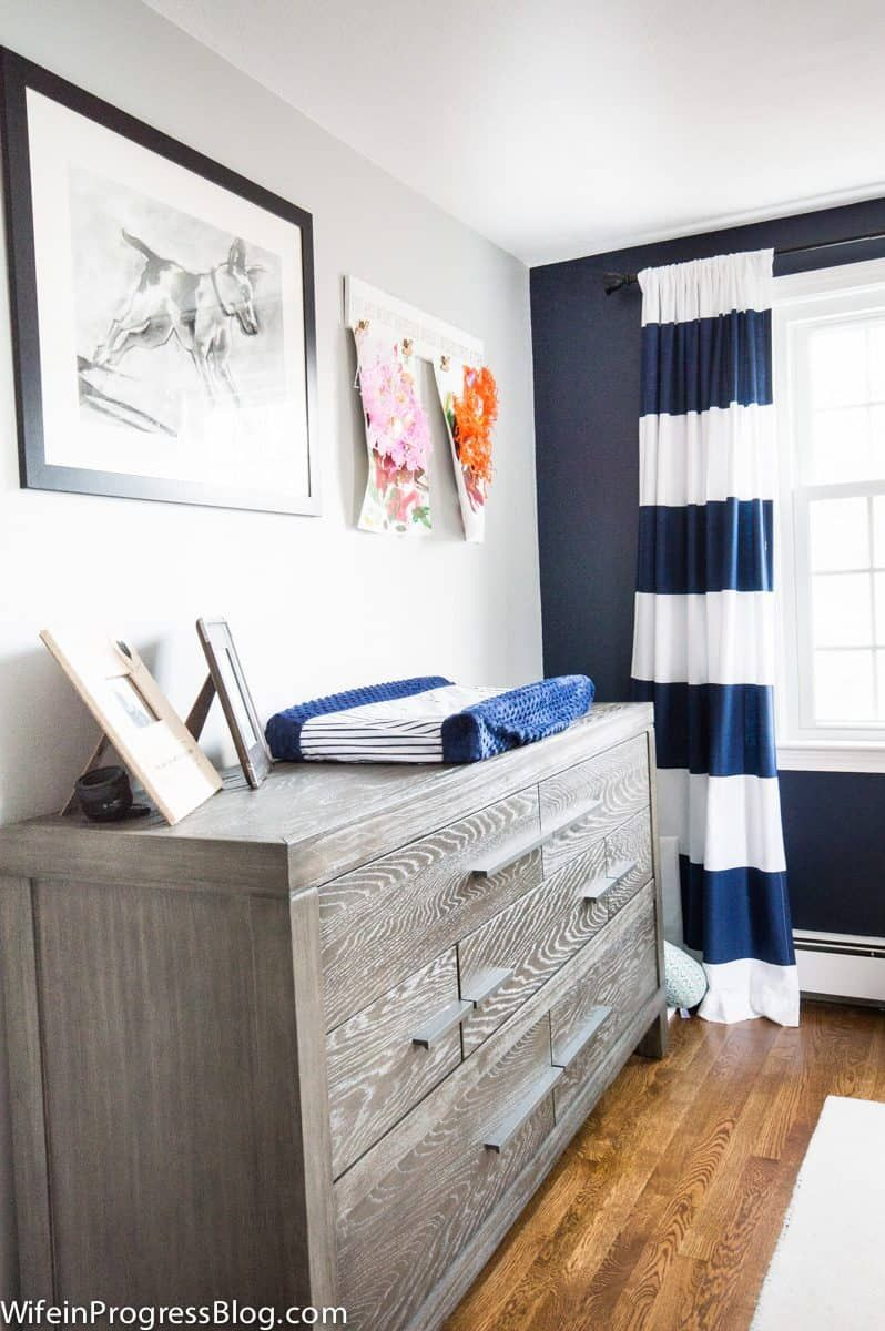 Navy And Gray Nursery An Accent Wall With Naval By