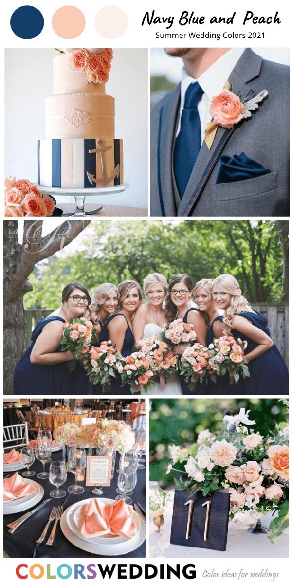 Navy Blue+ Peach Wedding bridesmaid dresses, blue suit