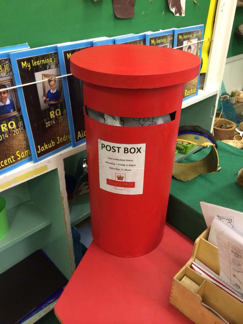 Christmas Postbox Cardboard Painted Red And Polished With Watered