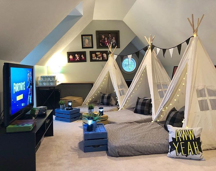 Teepee Sleepover For Boys In The Game Room Fortnite Fortnitebirthday Partyideasforboys Boypartyideas Teepee