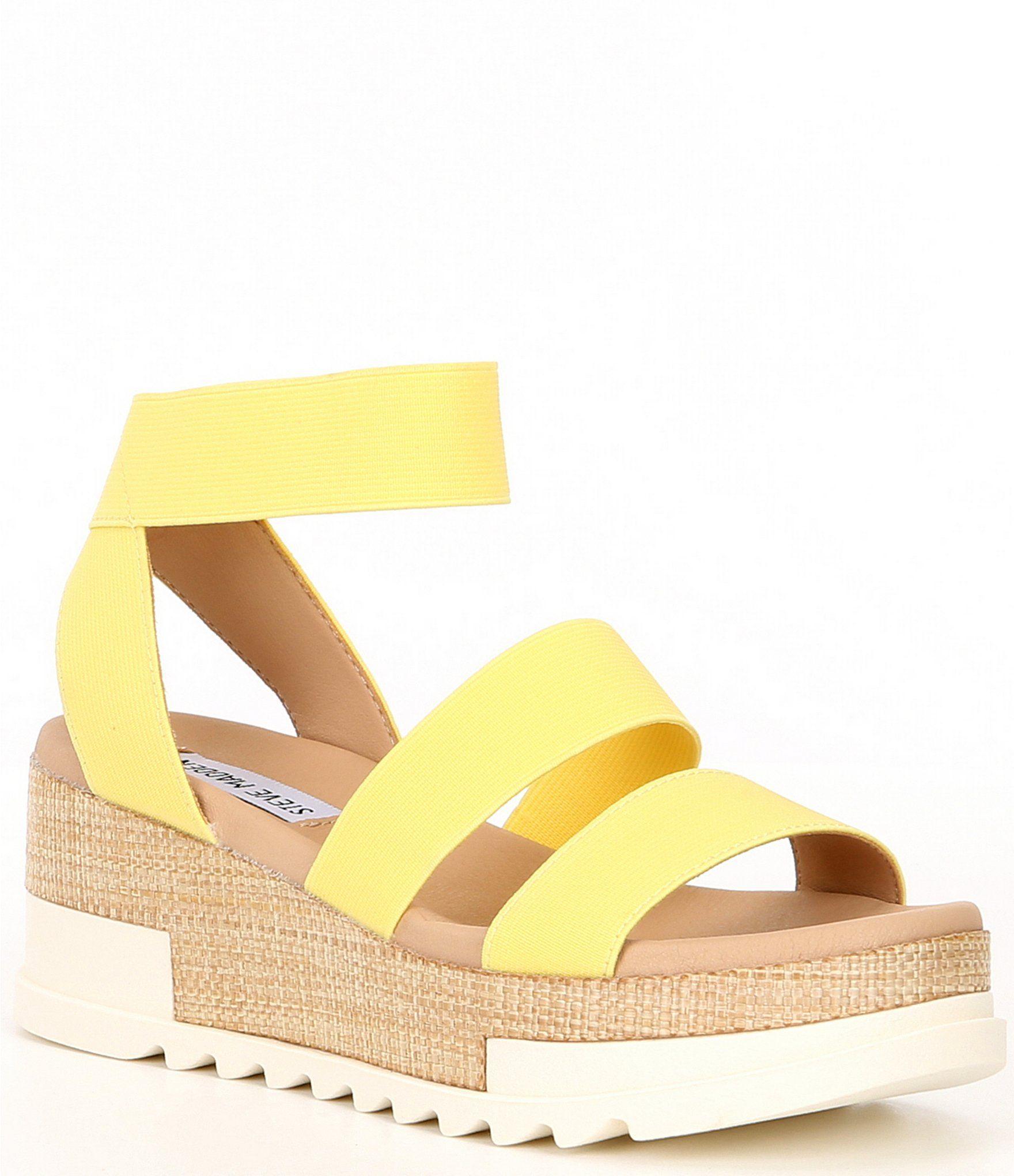 Steve Madden Birkley Elastic Strap Cork Flatform Sandals