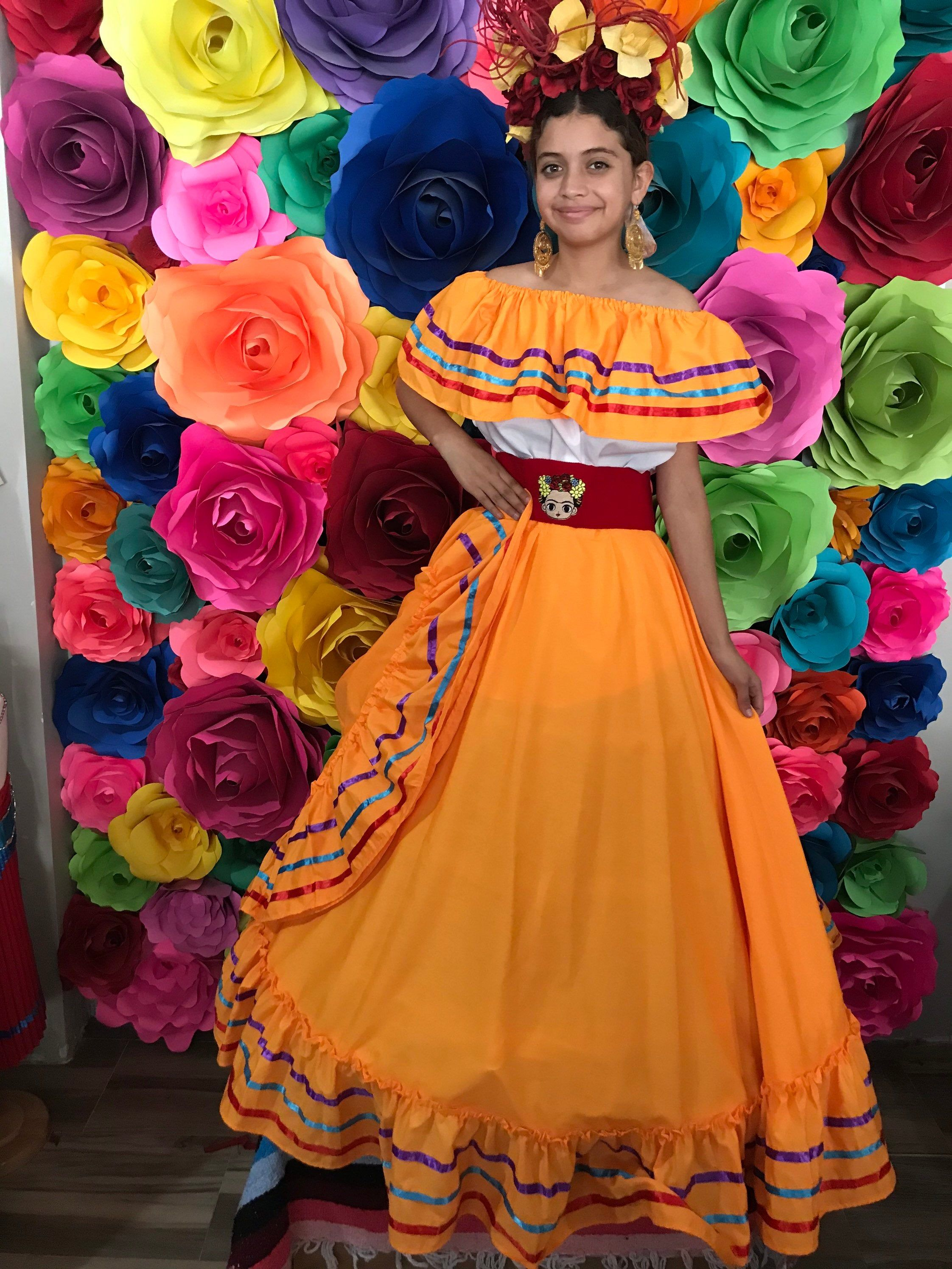Mexican Dress With Top Handmade Beautiful Frida Kahlo Etsy Mexican Dresses Traditional Mexican Dress Mexican Outfit [ 2992 x 2244 Pixel ]