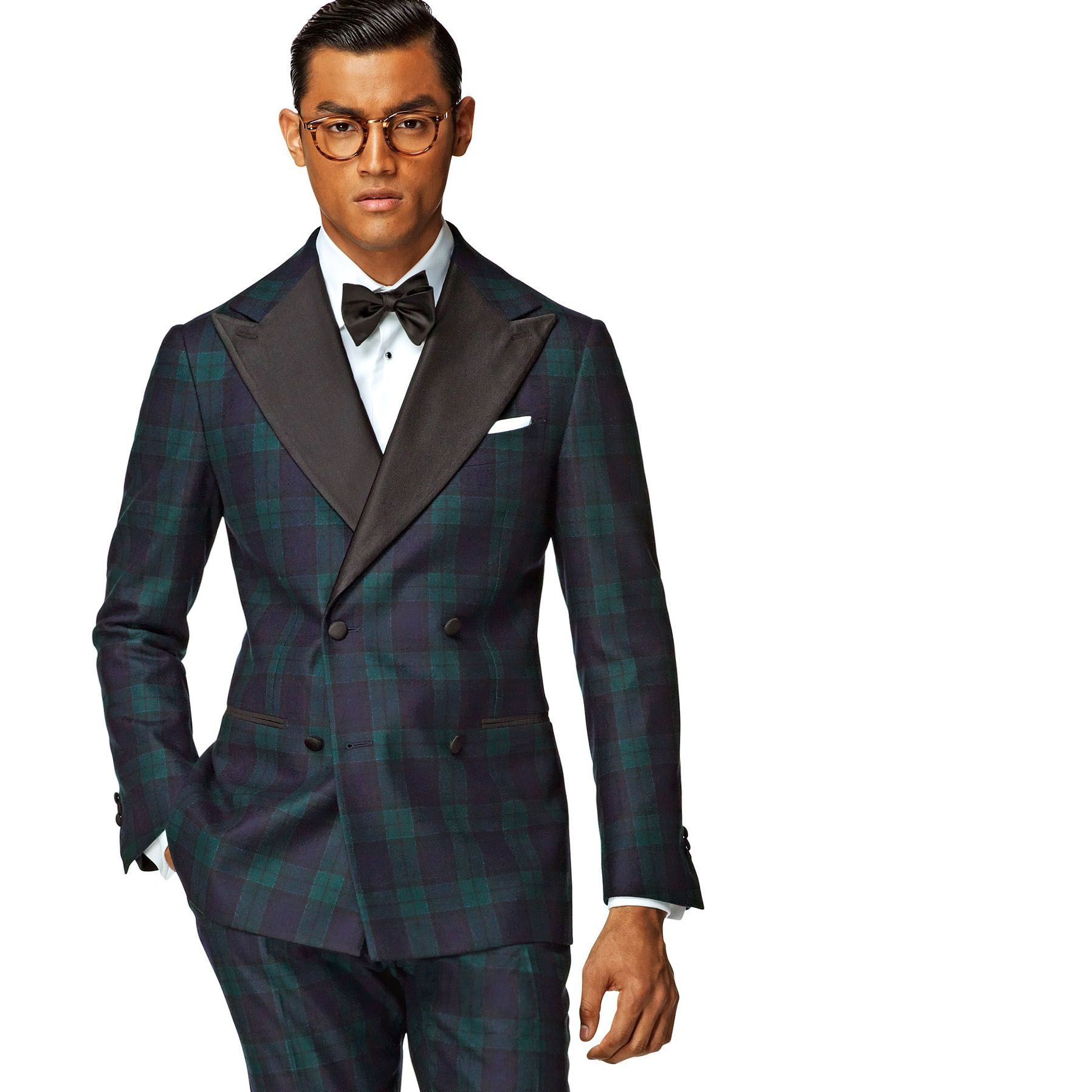 A sure way to stand out at any formal event, this blue checked Manhattan tux sublimely breaks away from the black tie conventions.  http://eu.suitsupply.com/nl_NL/eveningwear-2014