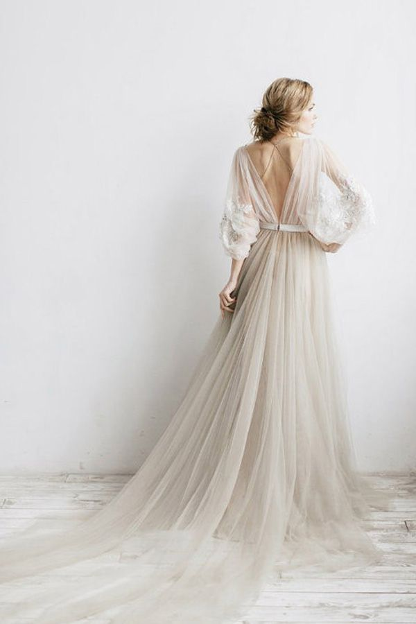 Unique Long Sleeve Floral Tulle Champagne Beige, Ivory, Gold Wedding ...