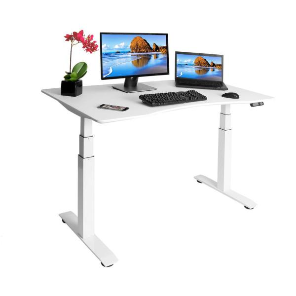 Seville Classics 54 In Rectangular White Standing Desks With Adjustable Height Offk65823 The Home Depot In 2020 Adjustable Standing Desk Standing Desk Frame White Standing Desk