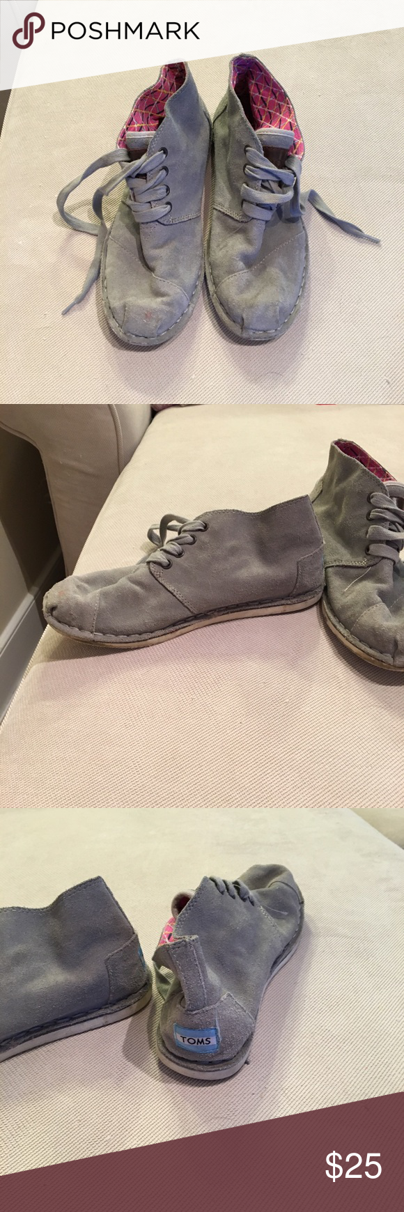 Grey toms booties This booties are super cute and perfect for fall, they are very comfortable and can be folded up to be only grey or down to show some of the pink! They have a small pink spot that can be seen in the picture, it might be easily removable I've never tried lol! I ❤️ offers! Toms Shoes Ankle Boots & Booties
