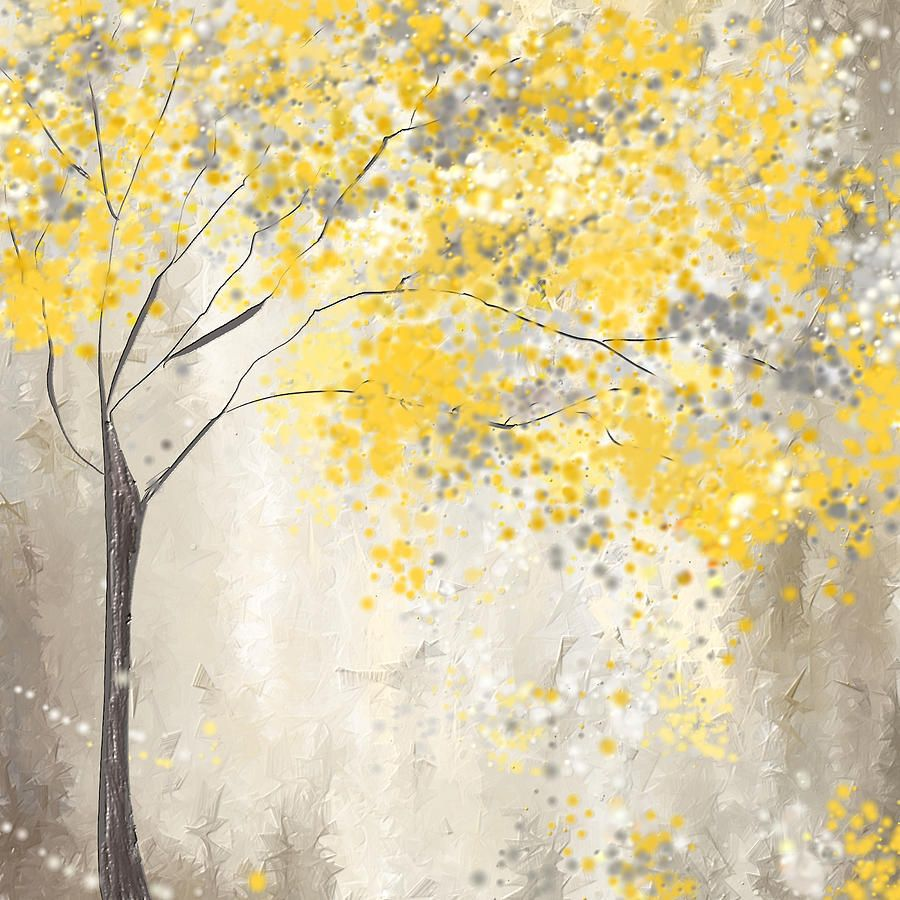 Yellow Painting Yellow And Gray Tree By Lourry Legarde