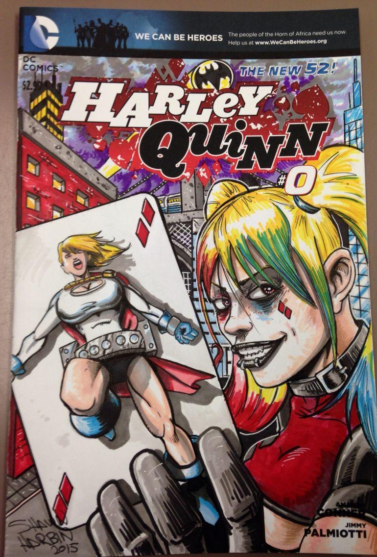 HarleyQuinn 0 PowerGirl DC comic sketch cover