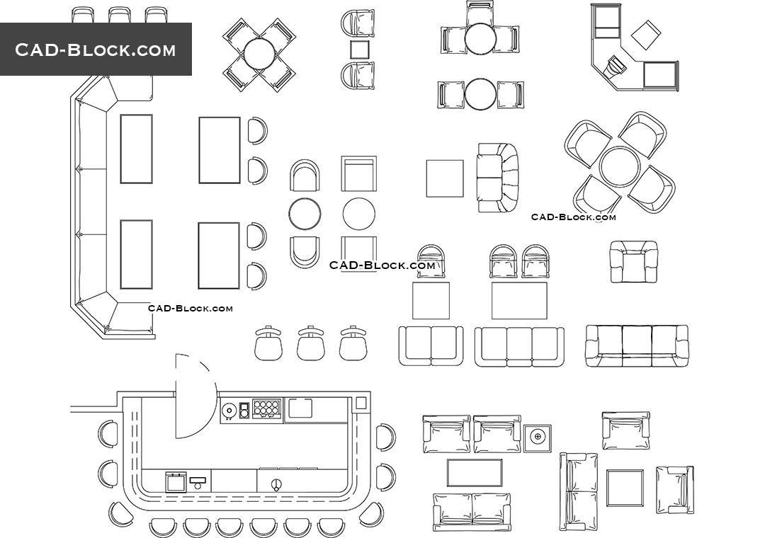 furniture for bar restaurant cad block [ 1080 x 760 Pixel ]