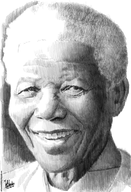 Pencil Drawing Of Nelson Mandela Using Krita Mandela Drawing Nelson Mandela Mandela