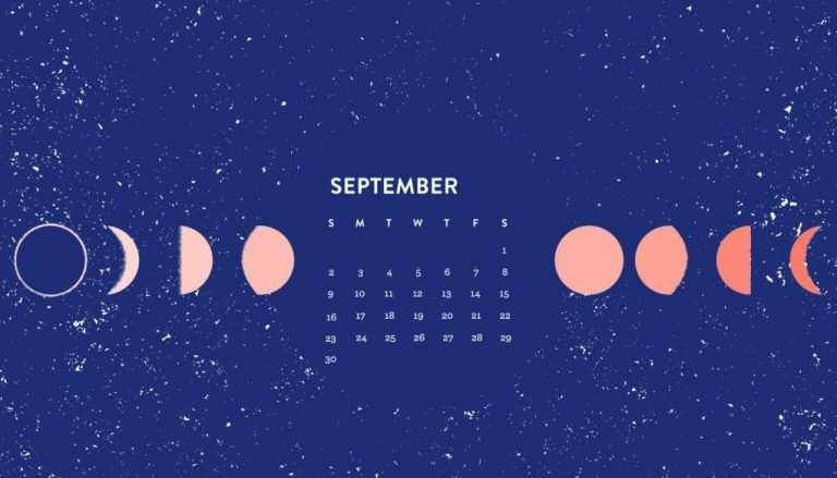 September 2018 Moon Calendar Wallpapers Calendar Wallpaper Cute Desktop Wallpaper Calendar Background