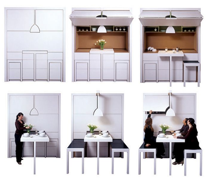 All-in-One for 4 sqm: Kitchen, Dining and Living Room Furniture Set ...