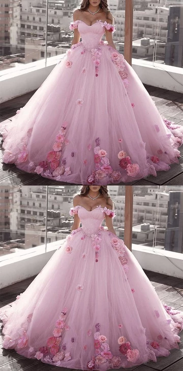 Blush Pink Tulle Off Shoulder Ball Gown Wedding Dresses Floral Flowers Beaded prom gown cg3003