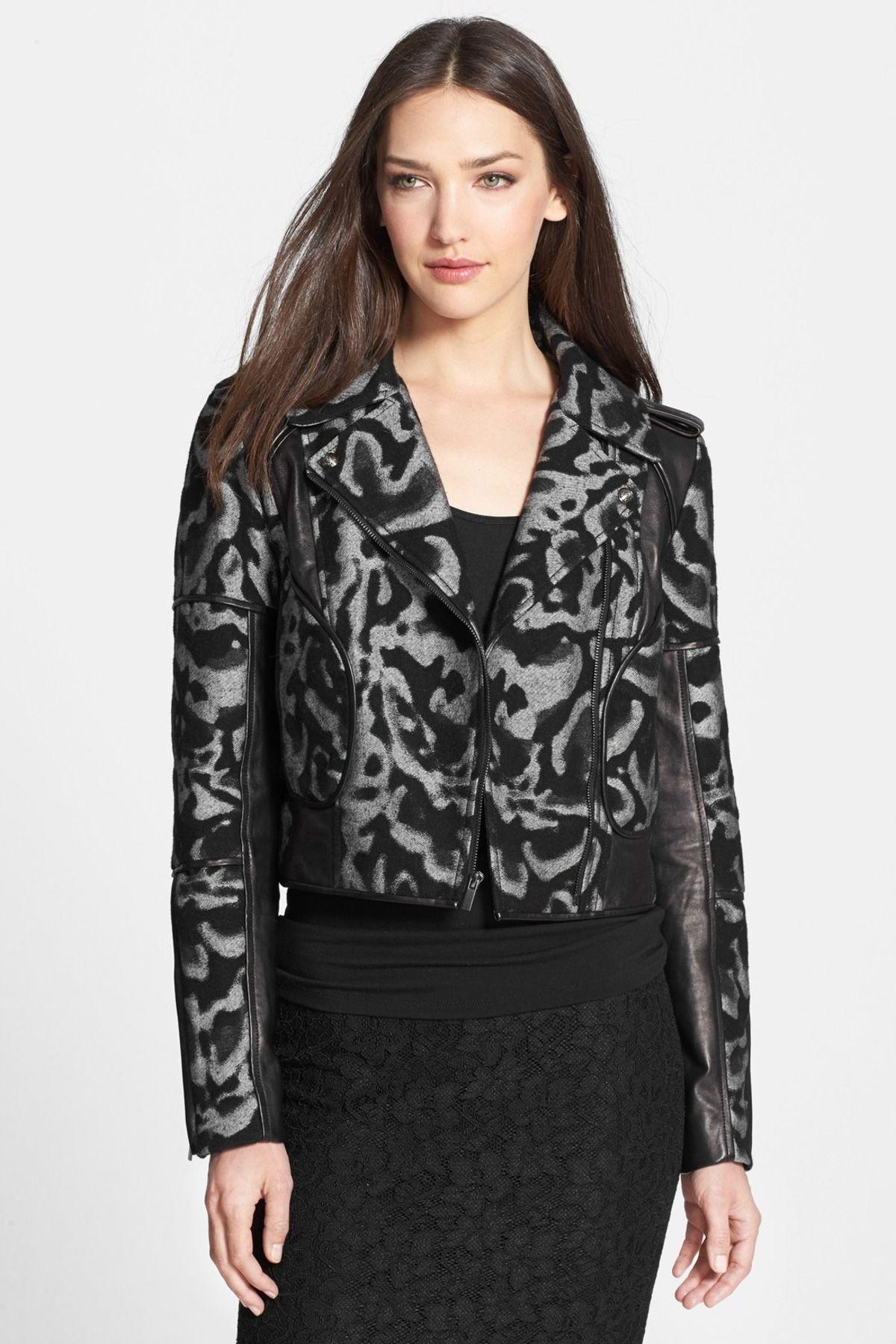 Diane von Furstenberg 'Theodora Leo' Leather Accent Jacket by Diane von Furstenberg on @nordstrom_rack