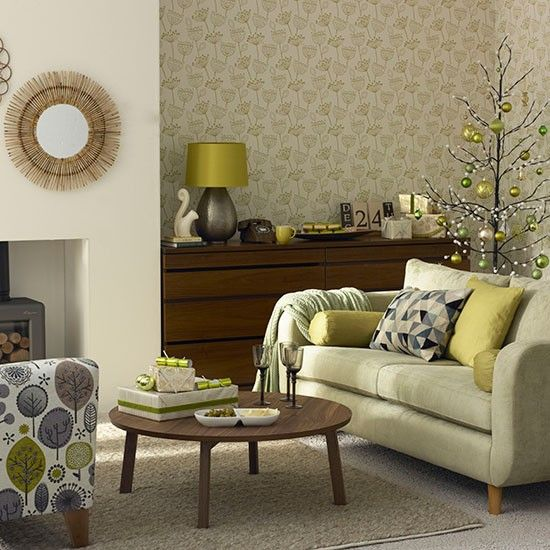 Olive Green Christmas Living Room | Living Room Decorating | Ideal Home |  Housetohome.co