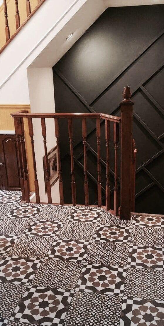 Moroccan Floor Tiles Hallway Floor Black White Tan Black