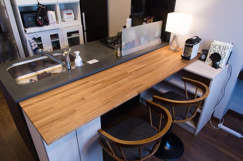 おしゃれなキッチンカウンターの作り方 棚に乗せるだけの簡単diy