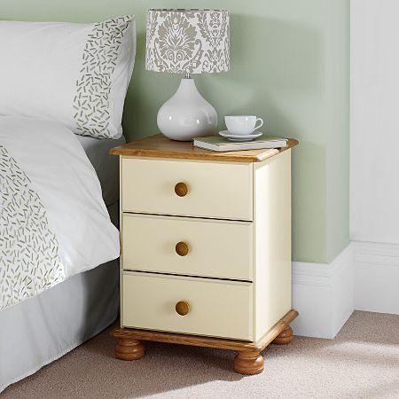 Best Hampton Cream Pine 3 Drawer Bedside Cabinet Restauración 640 x 480