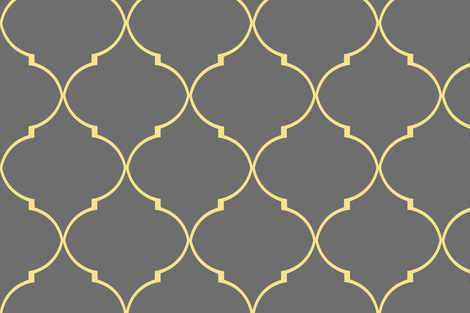 Kate Trellis in Citron and Cashmere Gray - sparrowsong - Spoonflower