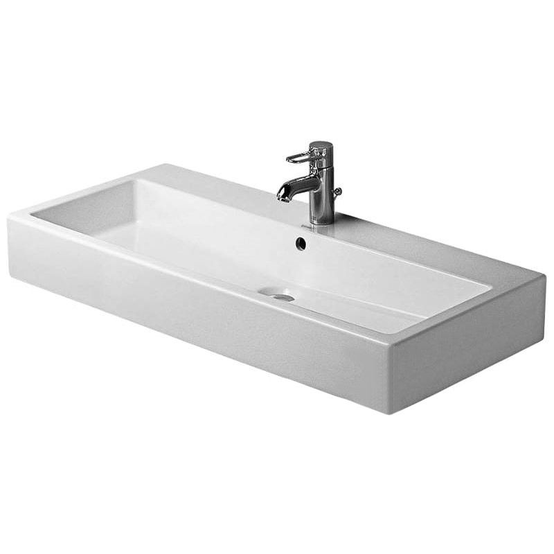 Scarabeo 1501-One Hole Soft Rectangular Small Ceramic Wall Mounted//Vessel Sink Small White Nameeks