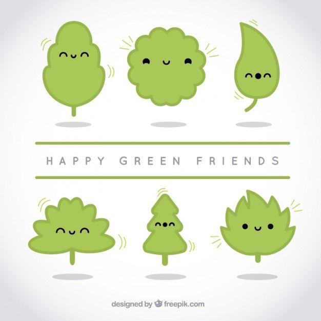 Amigos verdes felices Vector Gratis