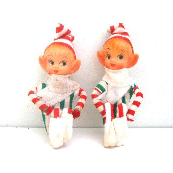 Vintage Candy Cane Knee Huggers Pixie Elf Dolls Vintage Christmas Ornaments Vintage Christmas Christmas Elf