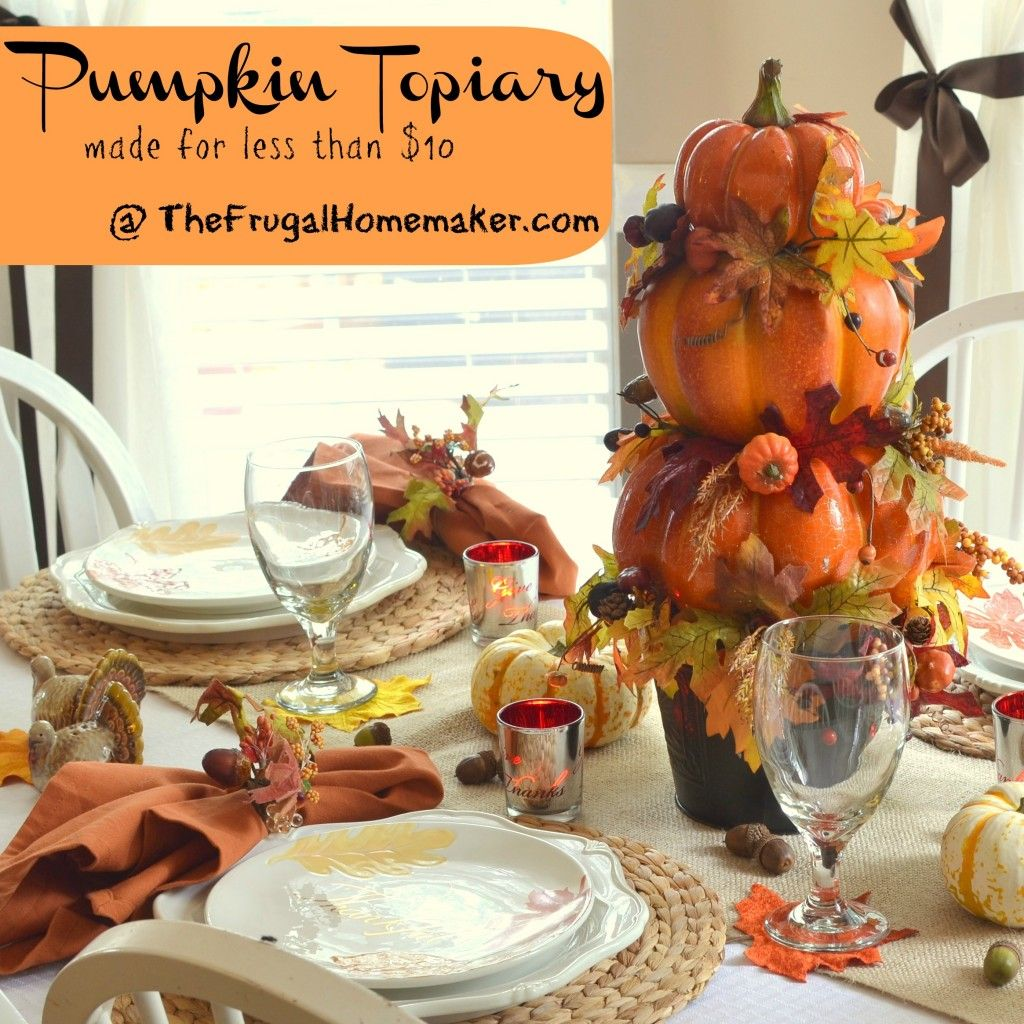 Pumpkin Topiary Ideas Part - 38: DIY Pumpkin Topiary Via TheFrugalHomemaker.com