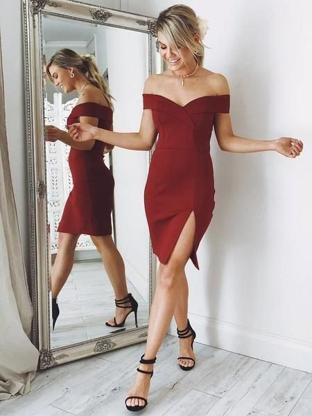 Short Burgundy Tight Prom/Homecoming Dress , Simple 8th Grade Dance Dress, Off the Shoulder S...