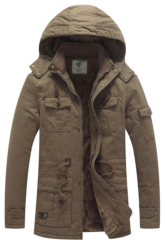WenVen Mens Windbreaker Winter Thicken Hooded Jackets
