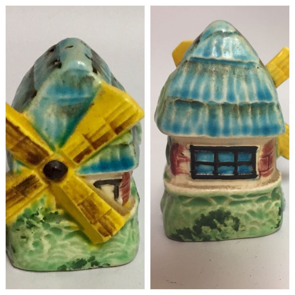 Vtg Windmill House Salt and Pepper Shakers Mill HousePainted Blue Green Yellow  | eBay