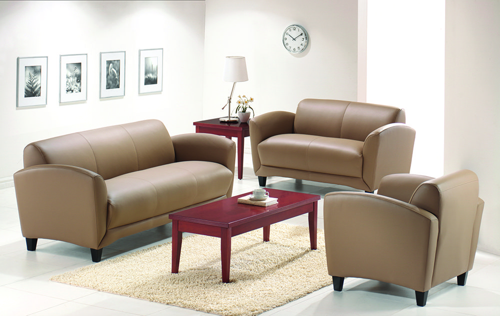Manhattan Series shown in Latte Top Grain Leather  http://www.officesourcefurniture.com/products/display/reception_room-and-lounge/OfficeSource/Manhattan_Series/