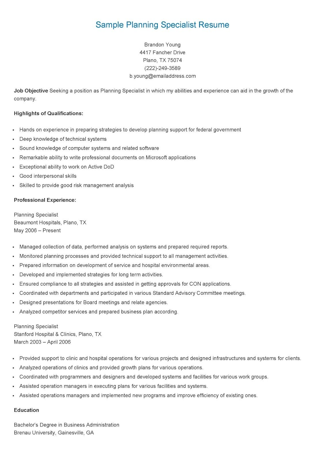 Sample Planning Specialist Resume Resame Pinterest