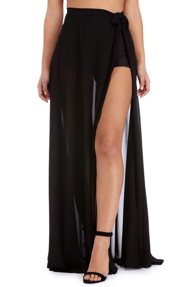 2f494f828 BLACK SHEER CHIFFON MAXI SKIRT #fashion #trend #design #style #product  #onlineshop #shoptagr