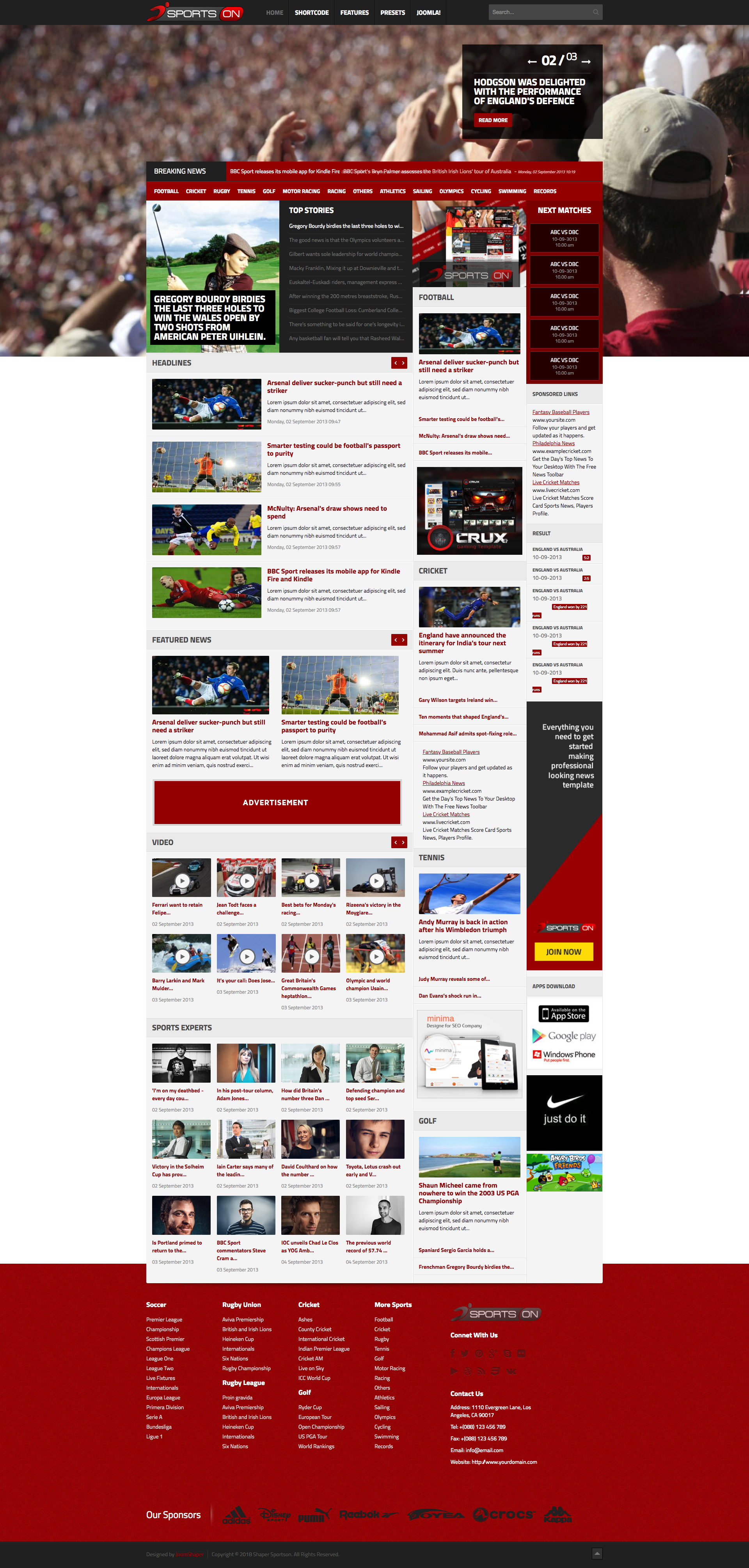 Sportson mega sports template for joomla year pinterest