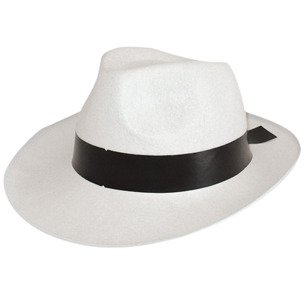 White gangster hat with black band for  16.50. Delivery available Australia  wide. Parcel Post  12. Express Post  20. 6357c8da2f88